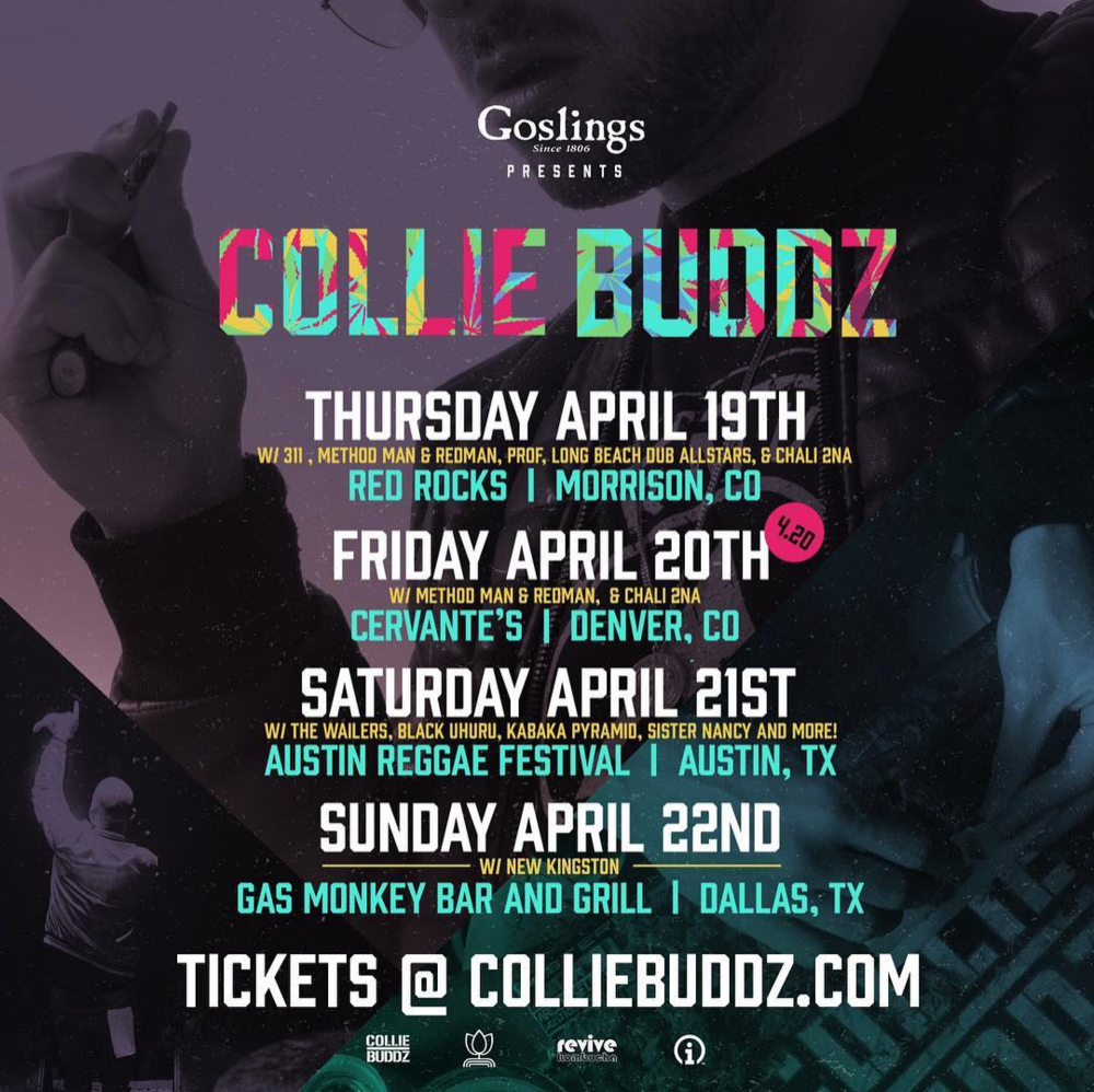 Got something special planned for 4/20!!  #Colorado  &  #Texas  come 💨💨 w/ me!  #colliebuddz   #420weekend   #goslings   #legalnow   4/19/18 - Red Rocks (Morrison, CO) 4/20/18 - Cervante's (Denver, CO) 4/21/18 - Austin Reggae Festival (Austin, TX) 4/22/18 - Gas Monkey Bar and Grill (Dallas, TX)  Purchase tickets at www.colliebuddz.com