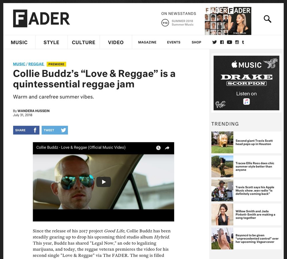 New music video for Love & Reggae out now exclusive on The Fader