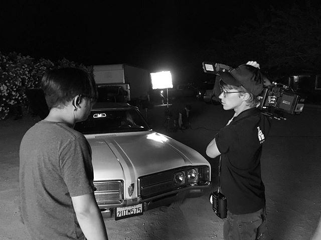 BTS: Nightime shoot with our picture car . . . . . #grayscale #shortfilm #indiefilm #film #blackandwhite #photography #desert #1960s #cinematography #grayscale #blackandwhitephoto #set #setlife #convertible #vintage #vintagecar #alexamini #dp