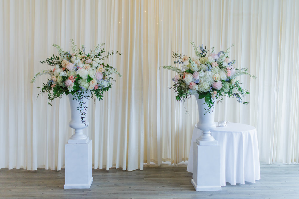 White Urn with Pedestals  Shore Shotz Photography