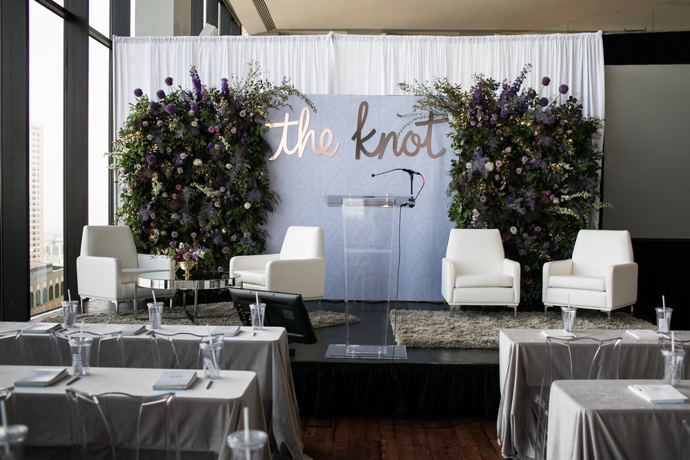The Knot, State Room, Boston  - Custom Floral Backdrop on Stage