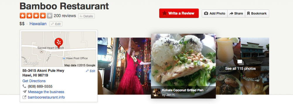 Bamboo Restaurant Yelp page