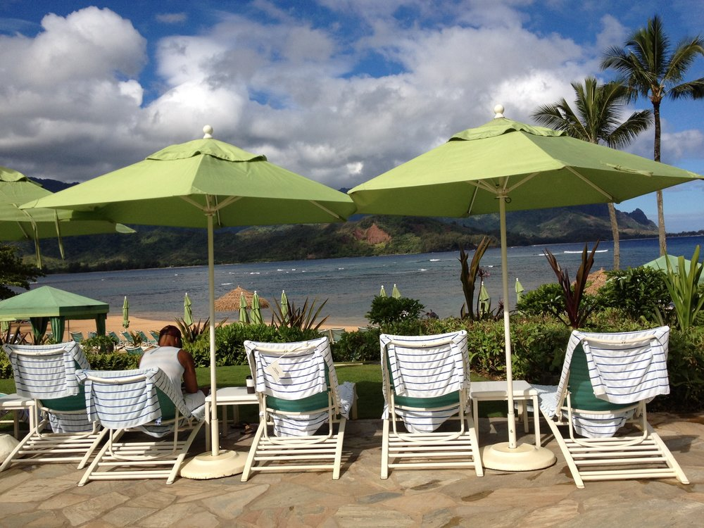 Kauai  - umbrellas at the St. Regis Princeville #kauai #princeville.jpg