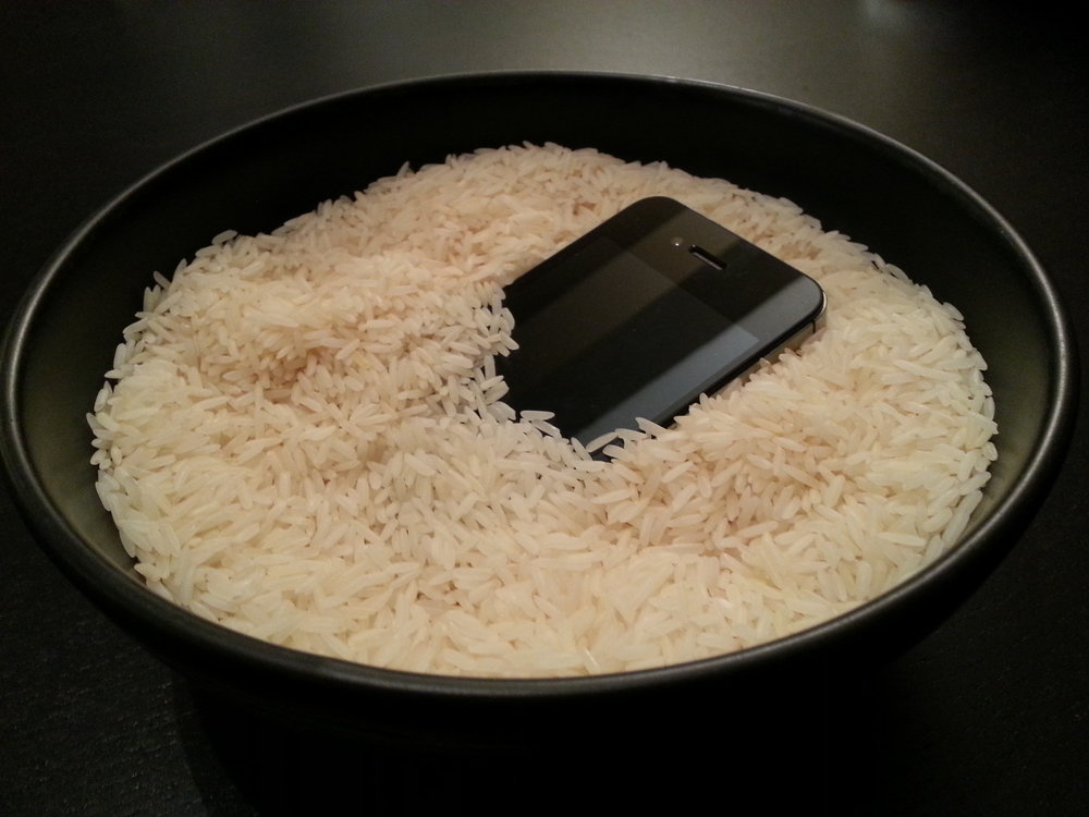 "Using rice to ""dry"" a phone is a myth and does nothing to repair or fix the phone."