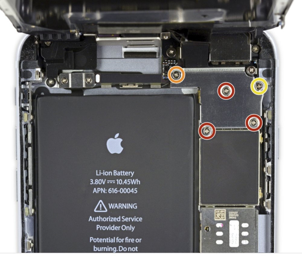 iPhone 6S Plus screw layout
