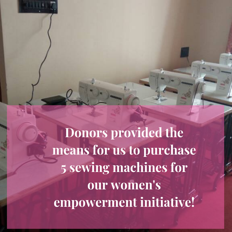 Women's Empowerment Initiative (WEAVES) - Four women graduated from our first-ever women's empowerment initiative!They were taught how to sew so they can support themselves & their children through tailoring in their community.