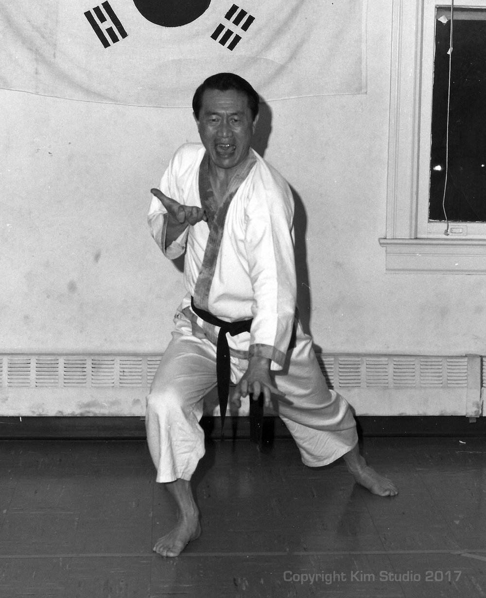 Grandmaster Kim Ki Whang (or Mr. Kim as he was often called by his students) demonstrating the form Shipsu at the first Kim Studio dojo opened in Silver Spring, MD in 1964.