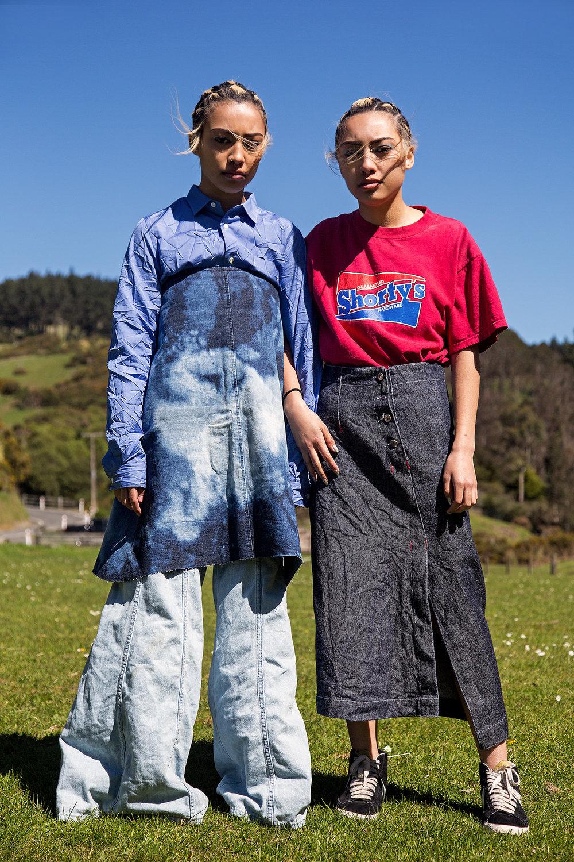 China Shirt: Comme des Garçons Skirt: Nahrin Zaya Jeans: Vintage  Rain T-shirt: Shortys Skirt: Vintage M-TV wear Shoes : Nike Blazer