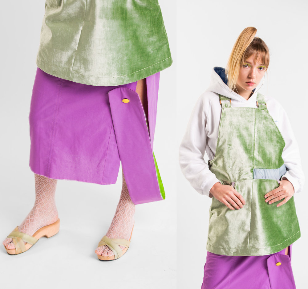green dress: yoshino maruyama purple skirt: dom burton wooden sandals: melina askew hoodie & tights: stylists own earrings: 27mollys