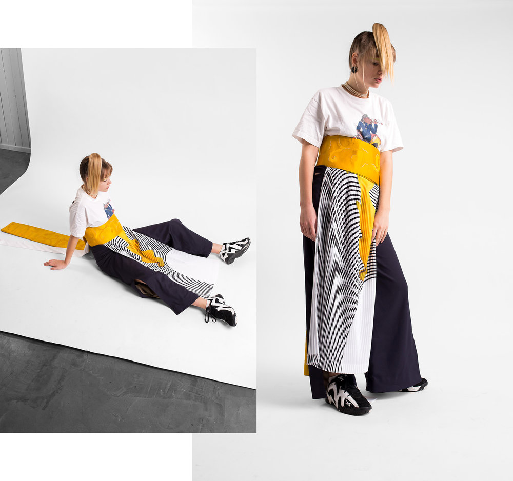 checkered skirt: jarrod reid yellow kimono tie: yoshino maruyama pants: yoshino maruyama t-shirt, socks, shoes & jewellery: stylists own