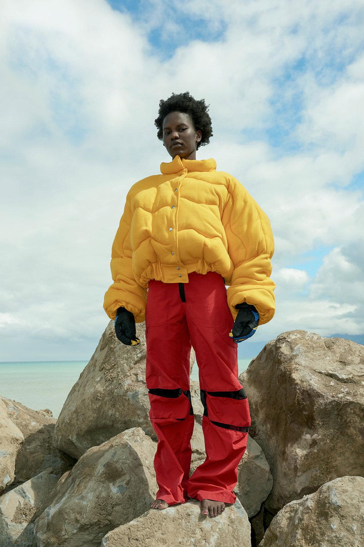 Shaylah Minhinnick jacket, Doosh Pants, stylists own gloves