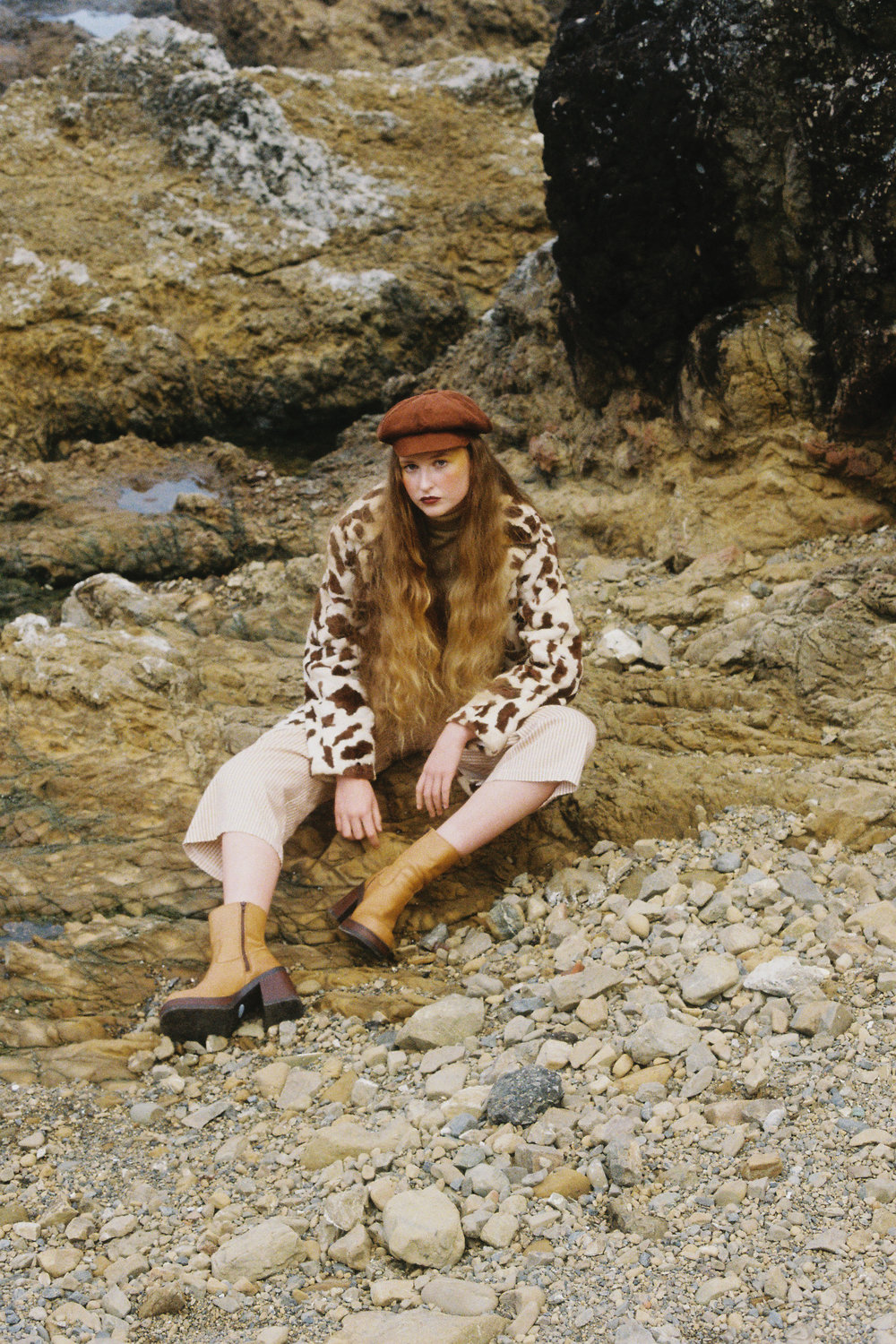 Top & jacket, pants & boots: Thrift Wellington  Hat & Earrings: Stylist's Own