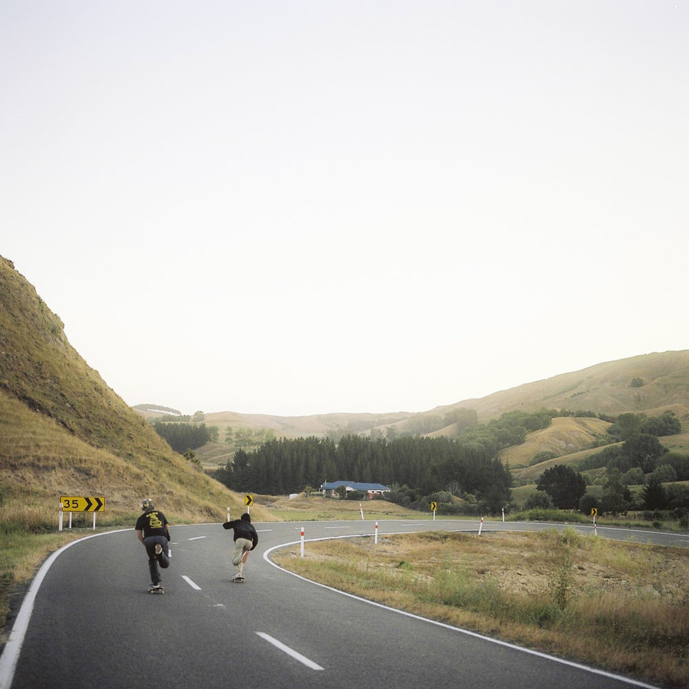 Chase & Jack heading down the hill towards Waimarama and my favourite camp site.