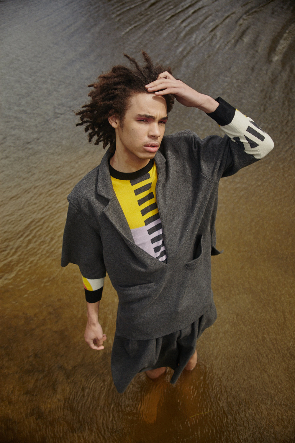Yohanis: Holly Marbeck Grey Wool Short Suit, Henrik Vibskov Snack Sweater - Yummy Print from The Shelter