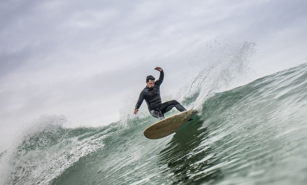 Malcolm Mersham carving it up at Lyall Bay