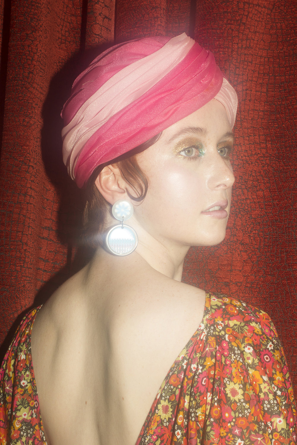 Miss Crabb dress, Vintage turban, Zoey's Earrings