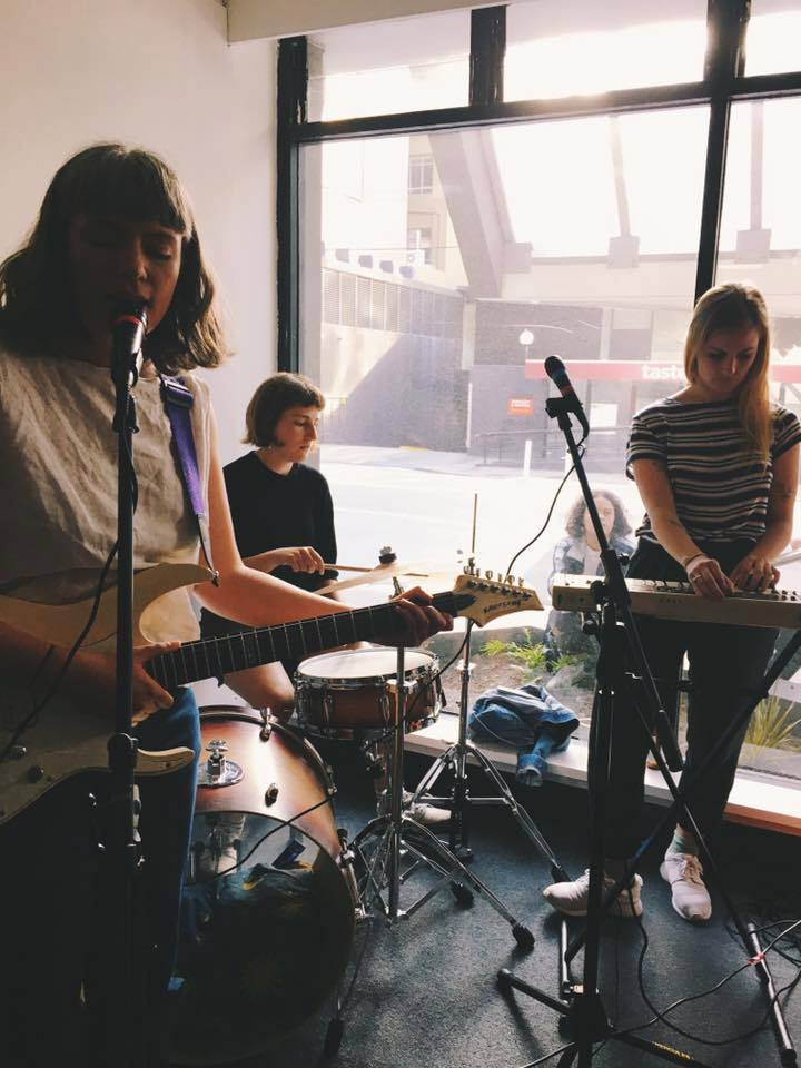 Namesake make their debut performance at the launch of Mimicry 2, at  MEANWHILE G allery. Photo by Rachel Brandon