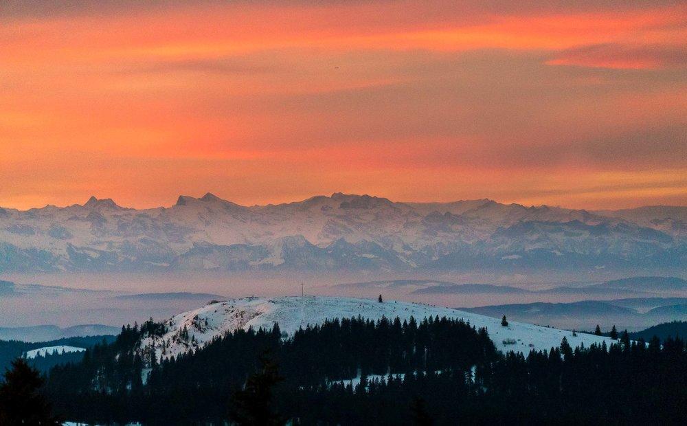 Blick auf's Herzogenhorn mit Alpenpanorama