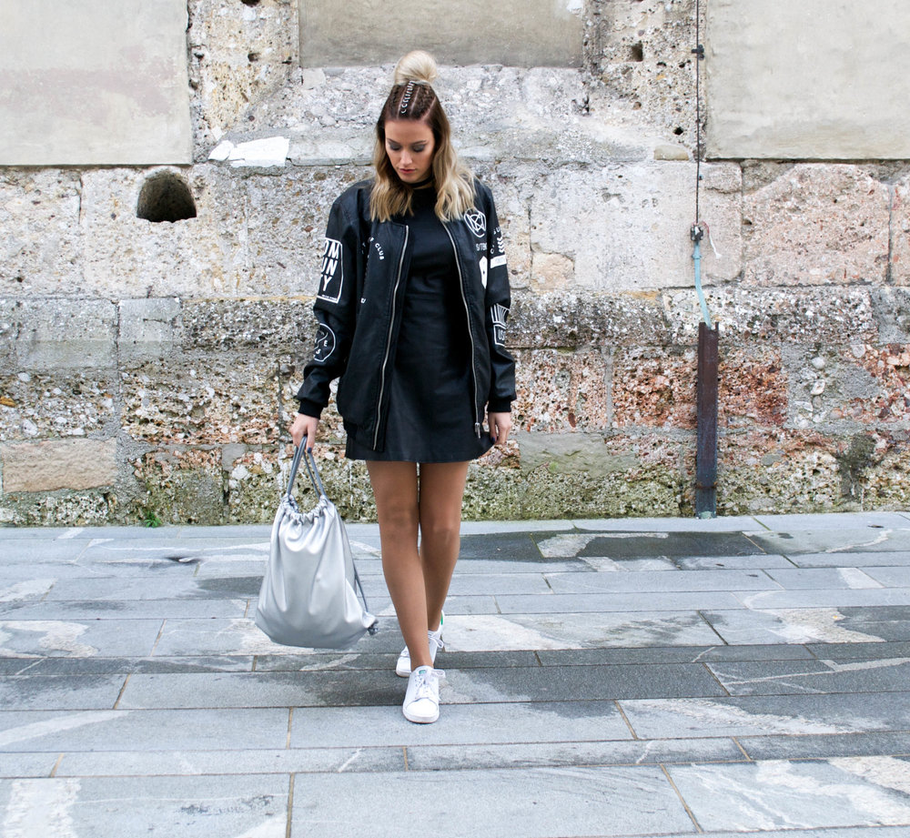 Zara leather dress // boopacks backpack // Adidas Stan Smith sneakers