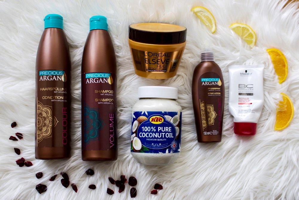 Precious argan shampoo, conditioner & spray / L'oreal hair mask / Schwarzkopf hair cream / Coconut oil