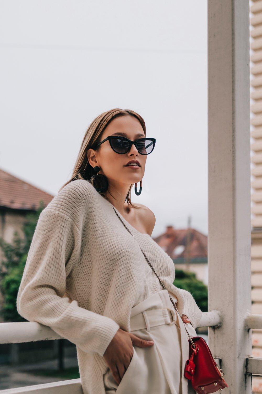 OUTFIT - sweater H&Mpants Mangobag Furlasunglasses New Yorkerearrings H&M