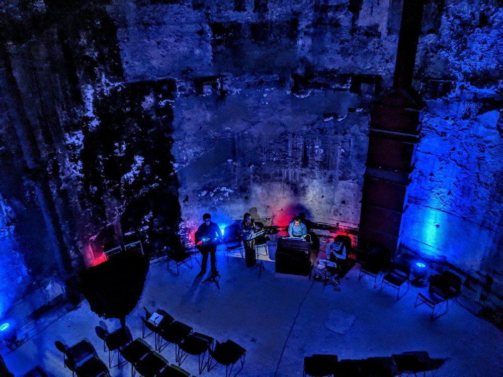 Rehearsing Henry Hall in the Thames Tunnel Shaft, at the Brunel Museum