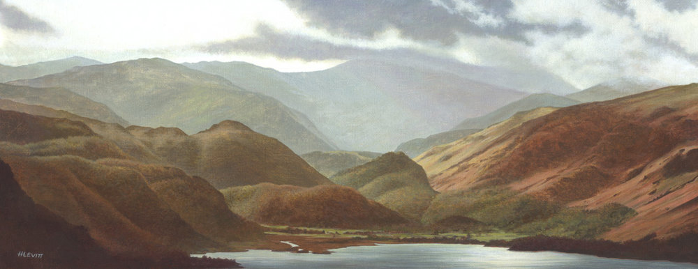 Morning mist over Borrowdale, Cumbria. Acrylic painting on canvas.