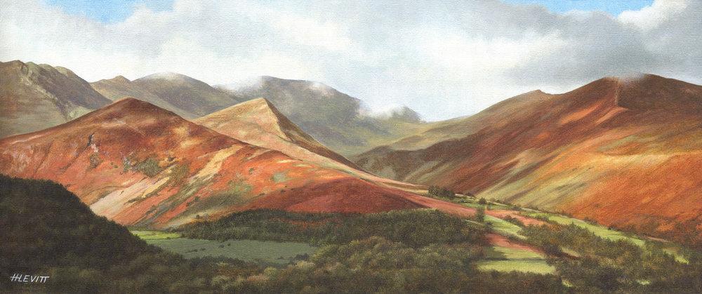 Shadows dance over the Fells, Cumbria . Acrylic painting on canvas.