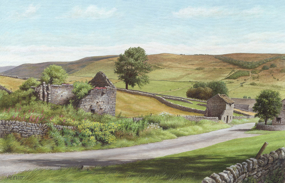 Approaching Little Hucklow, Derbyshire. Acrylic painting on linen