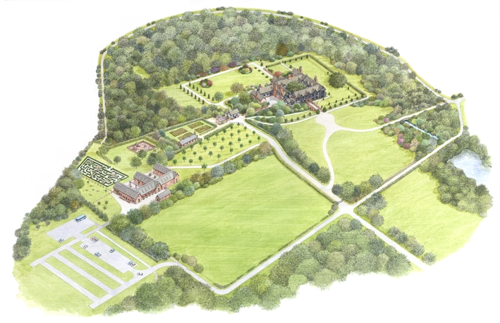 A Bird's Eye View of Speke Hall and Gardens for The National Trust