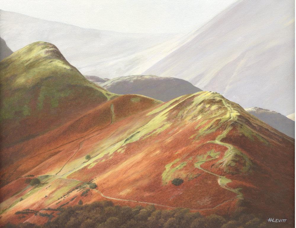A good day on Catbells.  Borrowdale, Cumbria. Acrylic on Canvas