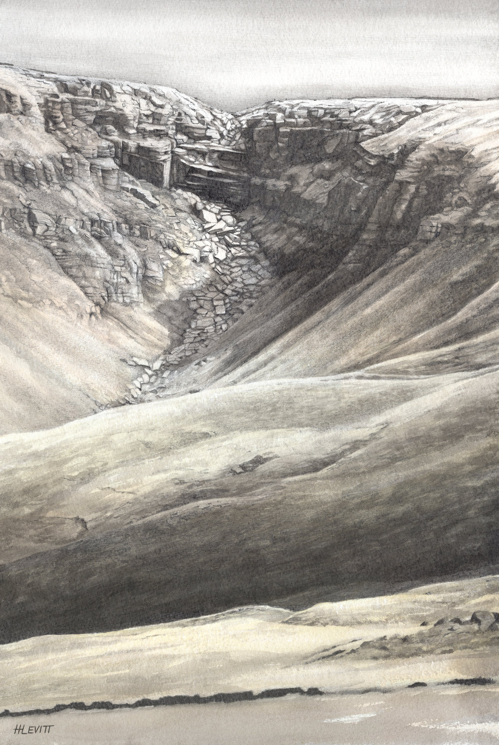 Kinder Downfall , Kinderscout,Derbyshire-on a dry day!              Graphite pencil and Ink wash
