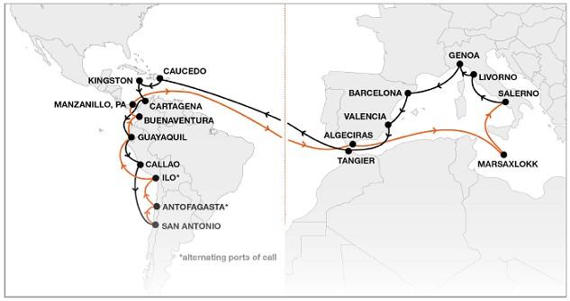 Mapa del nuevo servicio directo semanal  (fuente newsletter Hapag Lloyd)