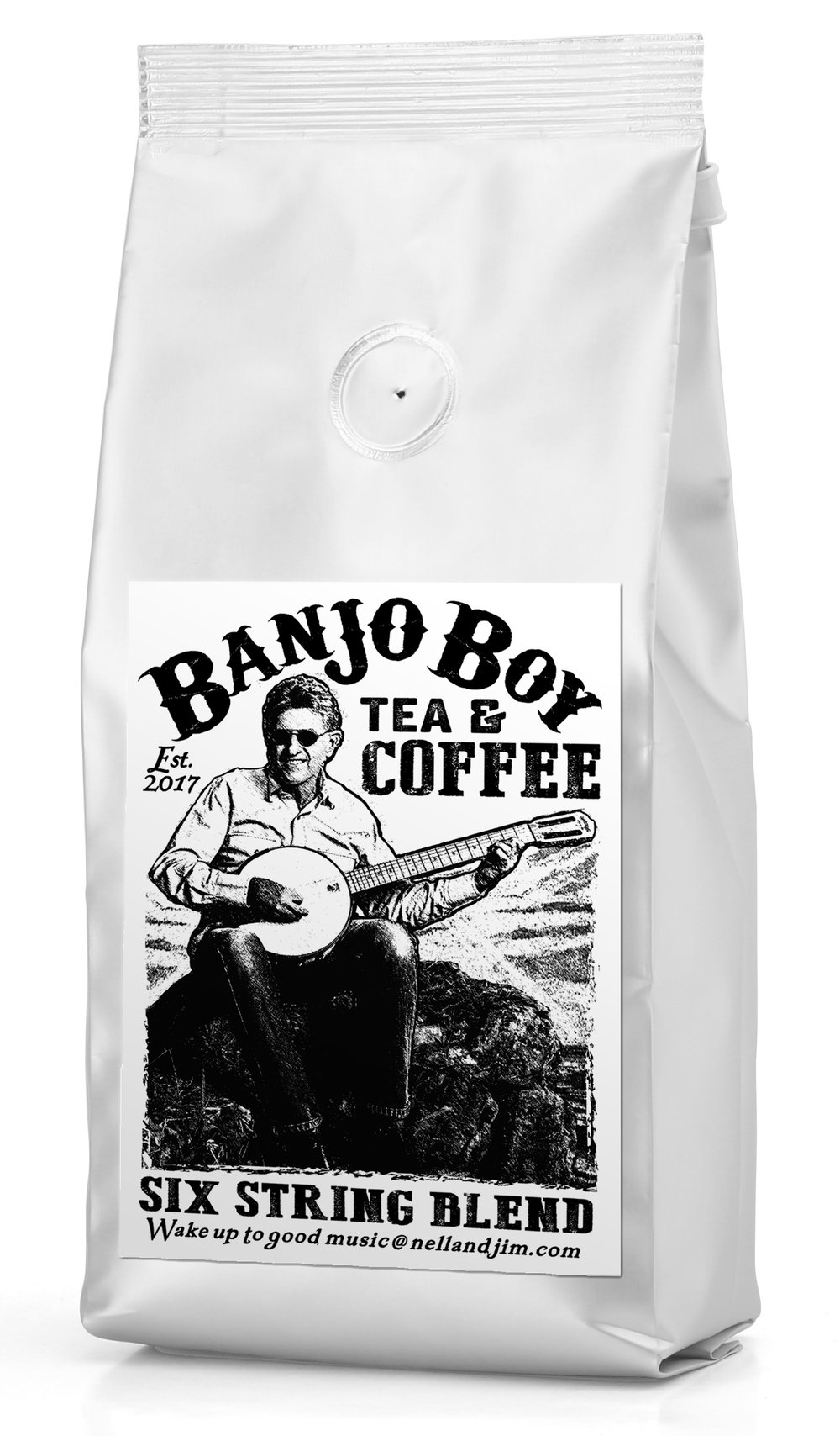 Six String Blend - This dark roast blend of beans from Indonesia and Africa has sweet, cherry and chocolate overtones—rich, smooth, finger-pickin' smooth tone.