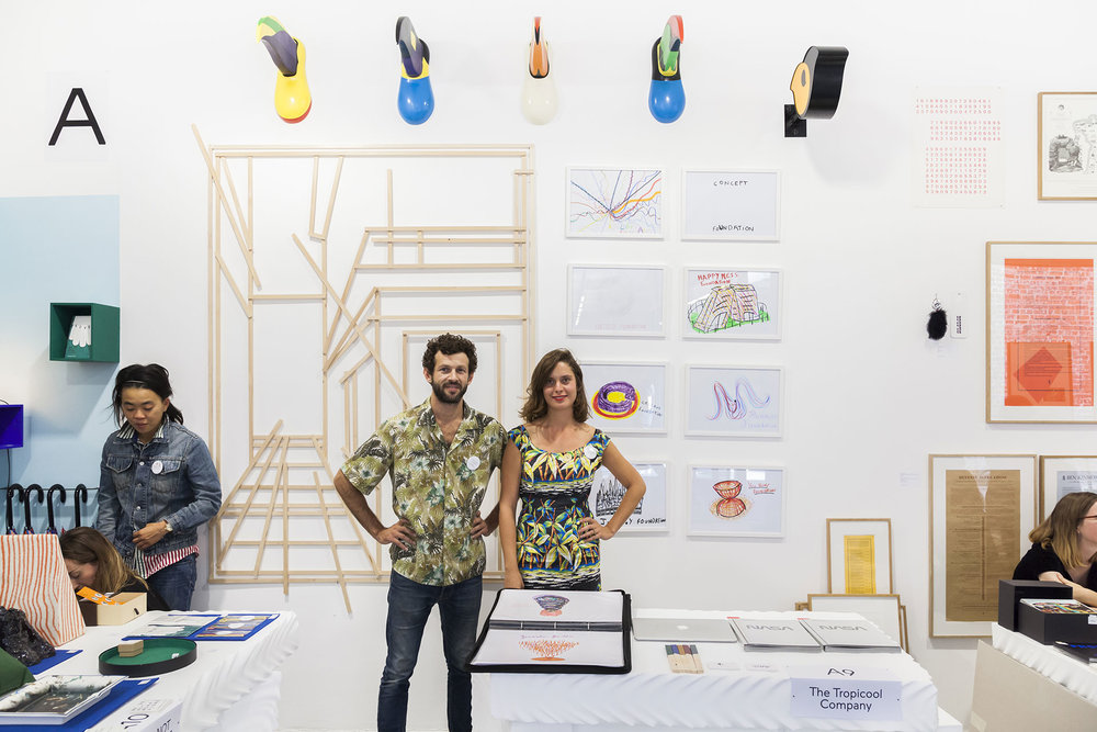Jonathan Chauveau-Friggiati & Claire Henry, Président-Fondateur et Secrétaire Perpétuelle de THE TROPICOOL COMPANY au salon MAD - Multiple Art Days - à la Maison Rouge (novembre 2016)