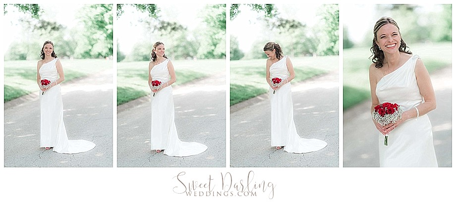 Bride in white one shoulder dress