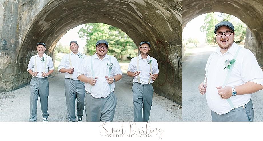 groom and groomsmen in suspenders and newsboy cap