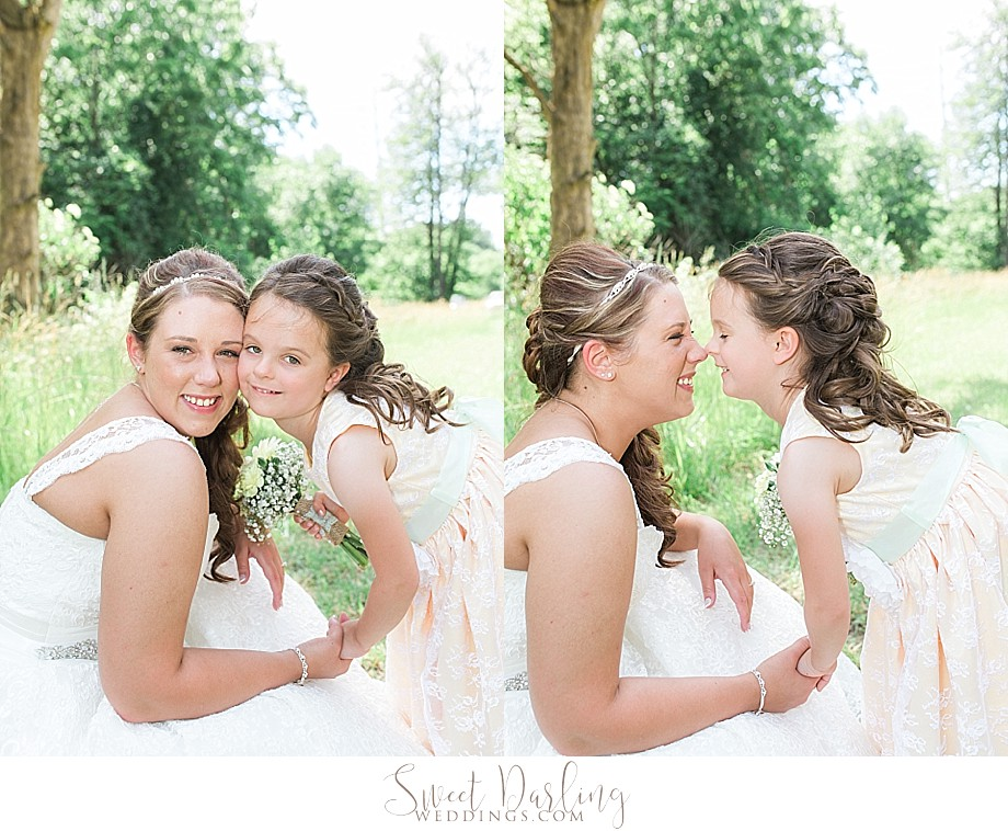 eskimo kisses between bride and flower girl