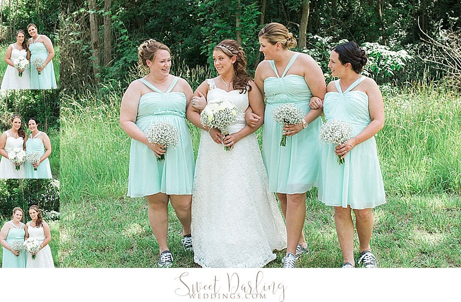 bride with bridesmaids in sea foam green dresses