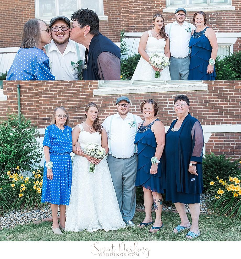 groom receives kisses by grandmas