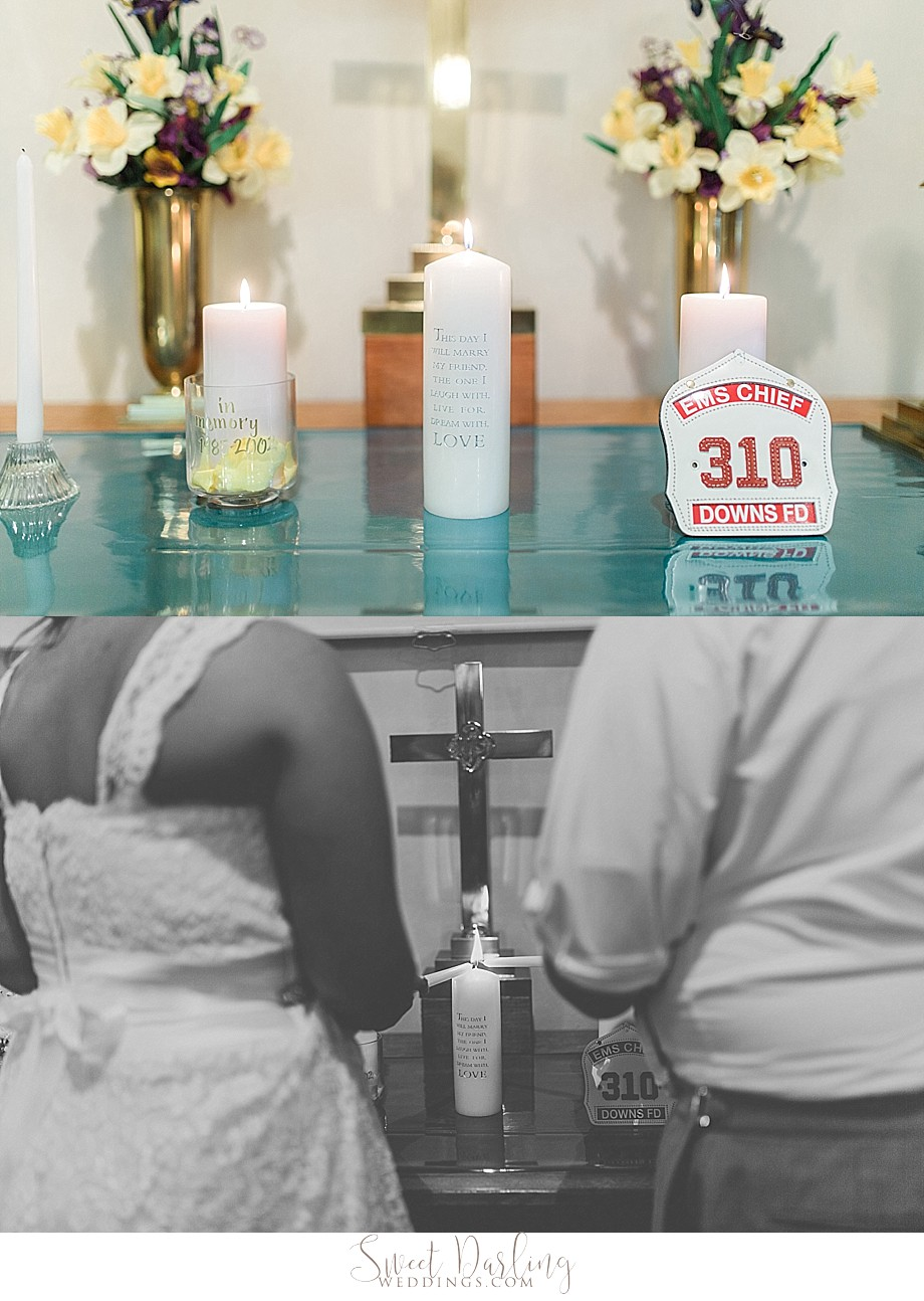 bride and groom light candles for father and brother died