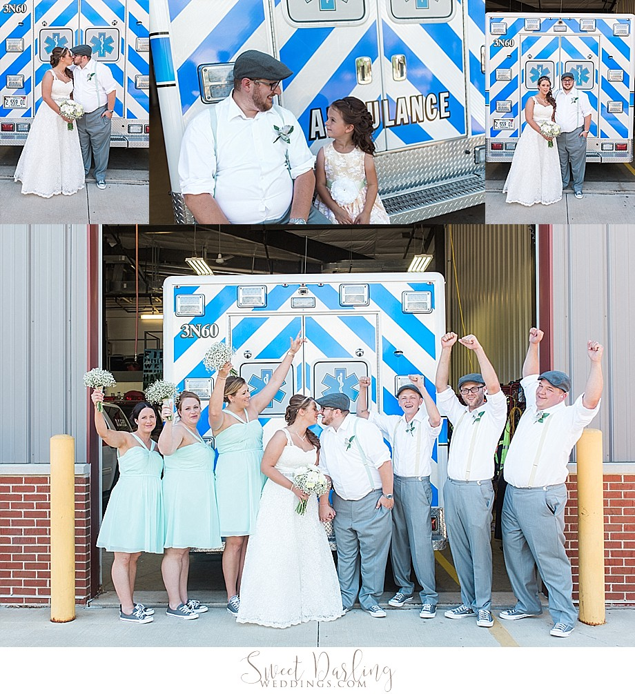 bridal party at fire station in downs illinois