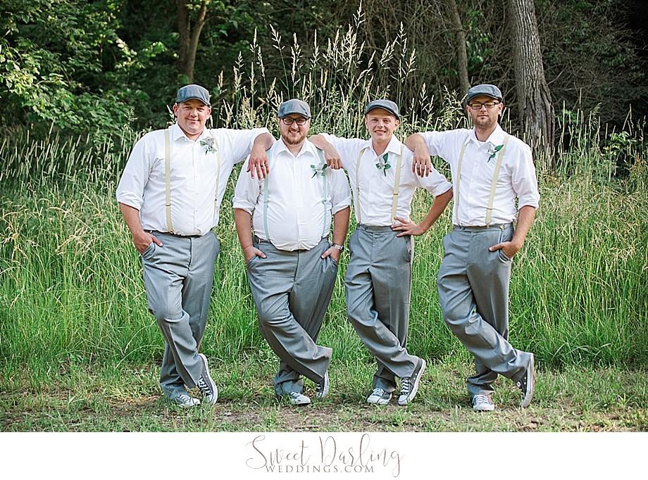 Groom groomsmen in suspenders converse shoes newsboy caps