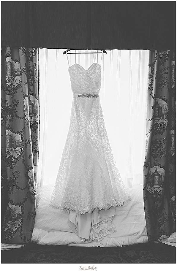 White strapless beaded white wedding dress
