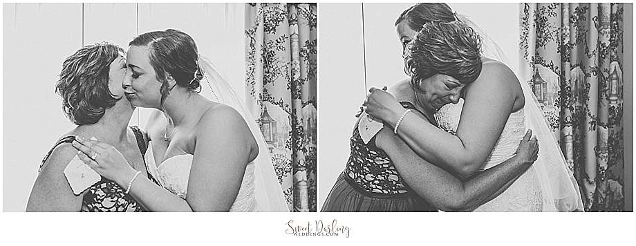 hugs kisses mom daughter on wedding day
