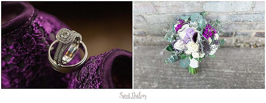 wedding bands on purple shoes bouquet brick walls