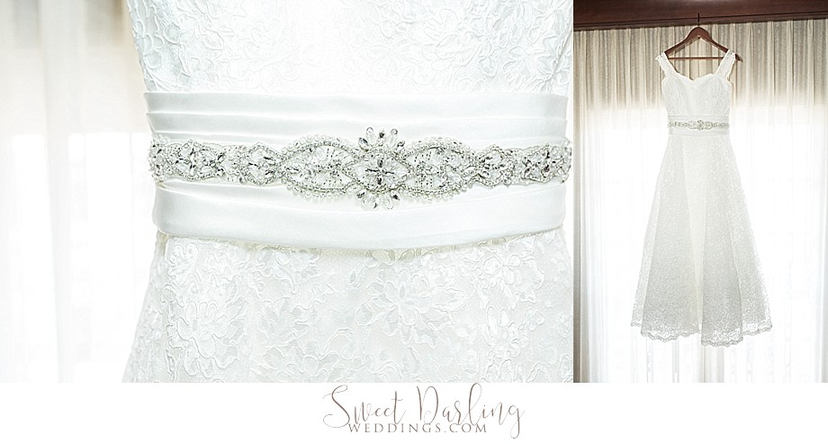 Beaded and lace details on wedding dress