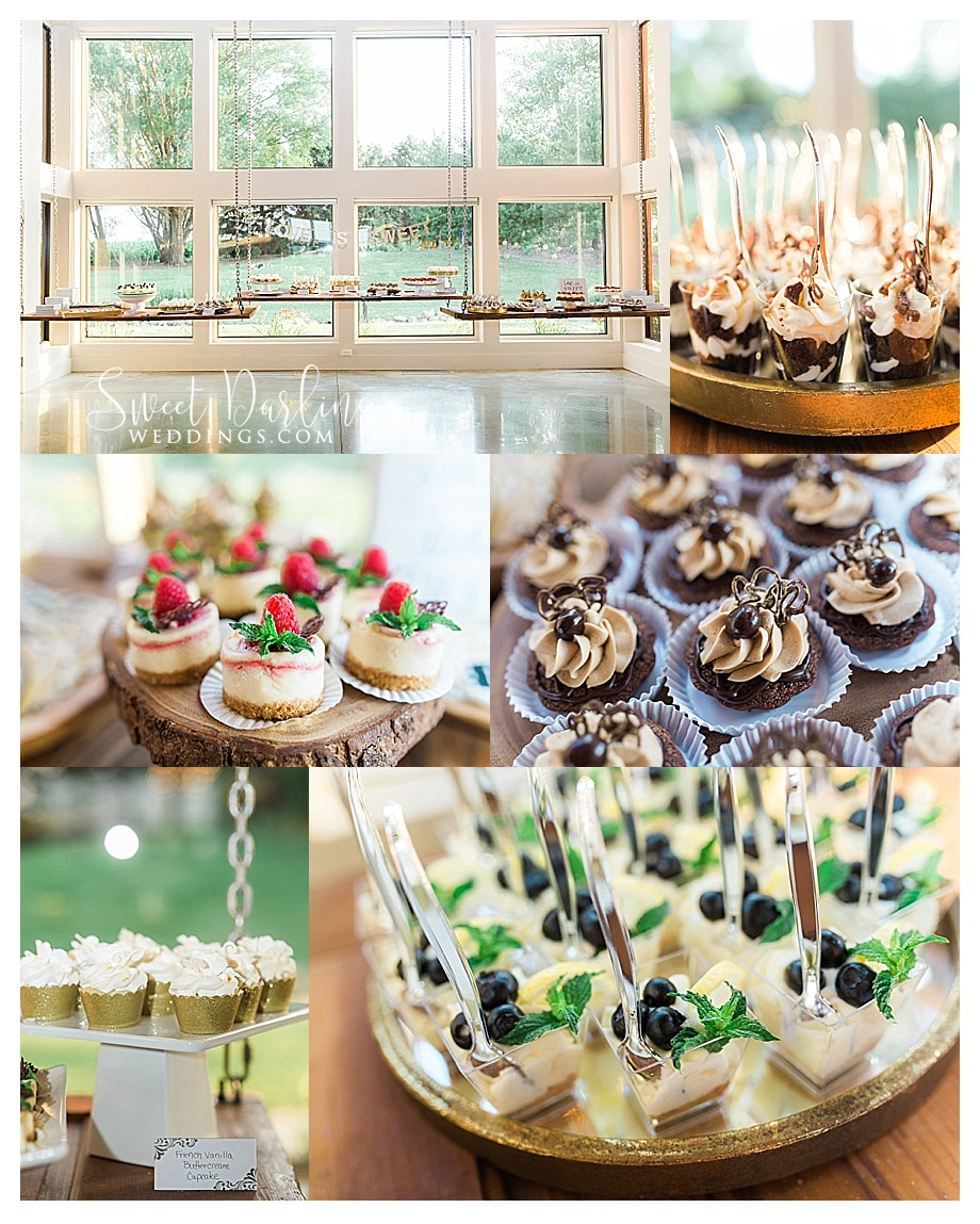 bite size dessert table at wedding