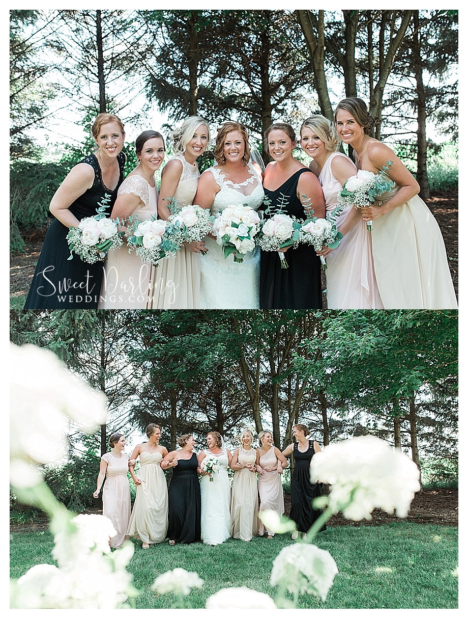 blush black and champagne bridesmaids dresses