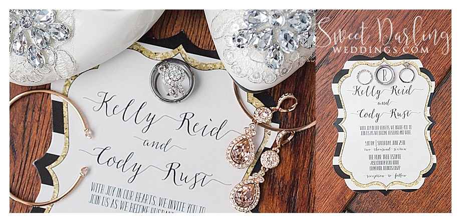 wedding shoes, rings and other jewelry on invitations